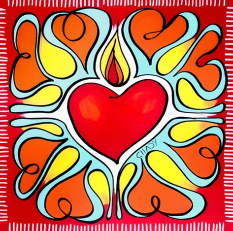 The Flame of love 12 x 12 - Print Mounted on Plexiglas