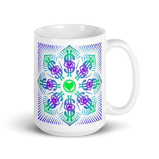 I Am Wealthy   Dollar Sign Mandala   Ceramic Mug   15 oz
