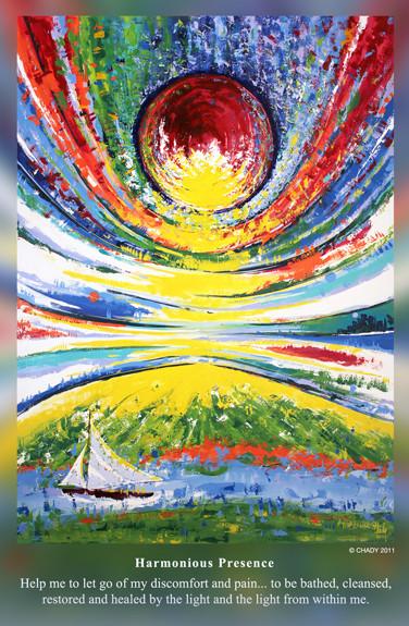 Harmonious Presence - Poem, Dr Marie Dezelic - Painting Chady Elias
