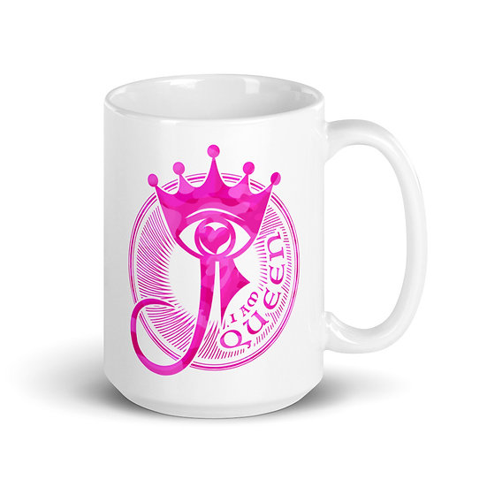 I Am Queen - Pink Camouflage - White glossy mug