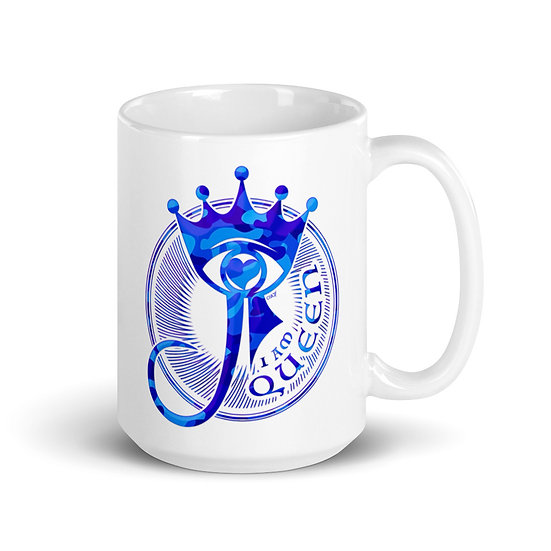 I Am Queen - Blue Camouflage - White glossy mug