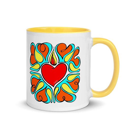 Flame of Love   Mug with yellow color Inside