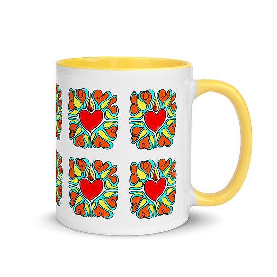 Flame Of Love | Ceramic Mug | Yellow Inside | 11 oz | Chady Elias
