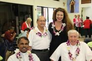 Elena Kareneva with Catholic priests from the Diocese of Honolulu celebrating the inauguration of Immaculate Heart Catholic Radio in the Island of Maui
