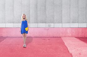 Fashion Model on Pink:Grey