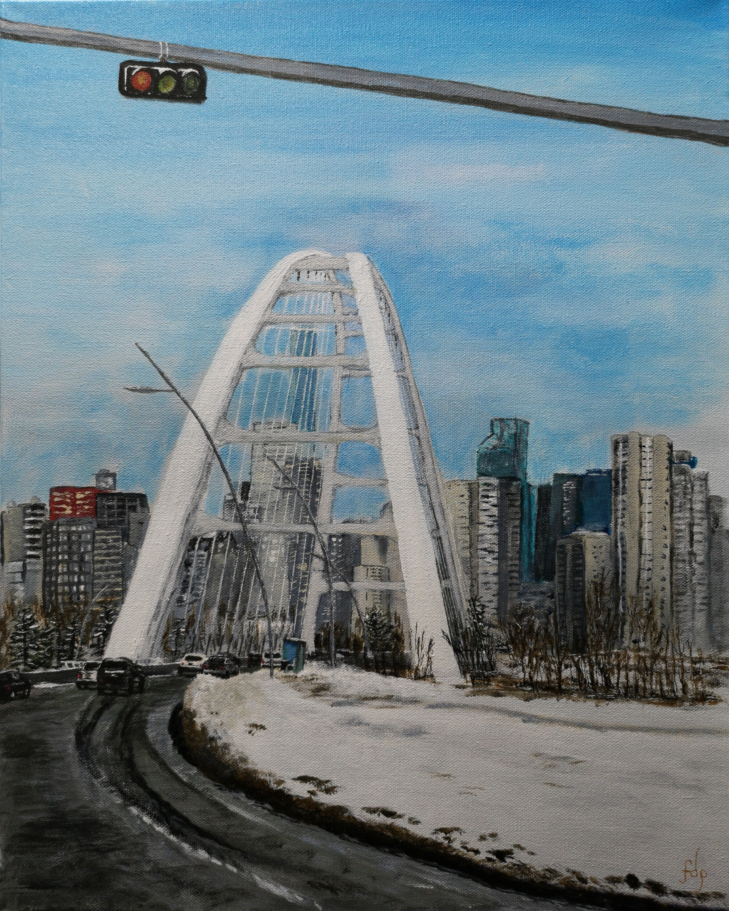 Waiting at the Walterdale Bridge