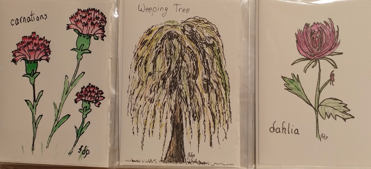 Weeping tree, Carnations, Dahlia $2