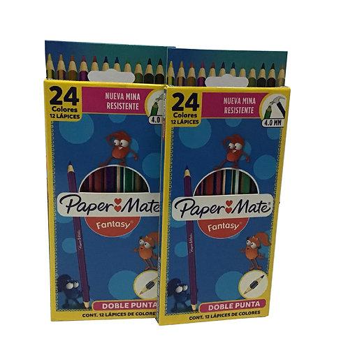 Caja de Colores Marca PaperMate Doble Punta con 24 piezas (1 caja)