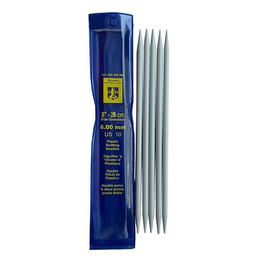 Agujas Tricot de Plástico de Doble Punta de 20cm de 6mm