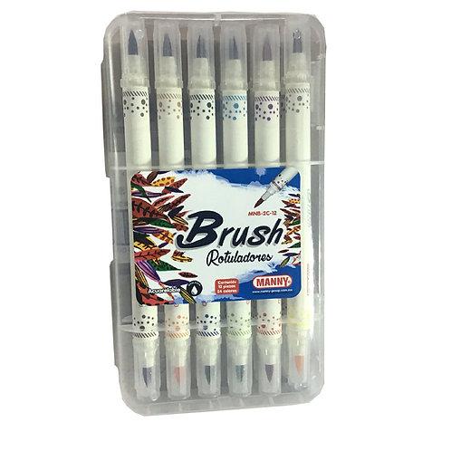 Rotuladores Brush Doble Punta 12 piezas y 24 colores