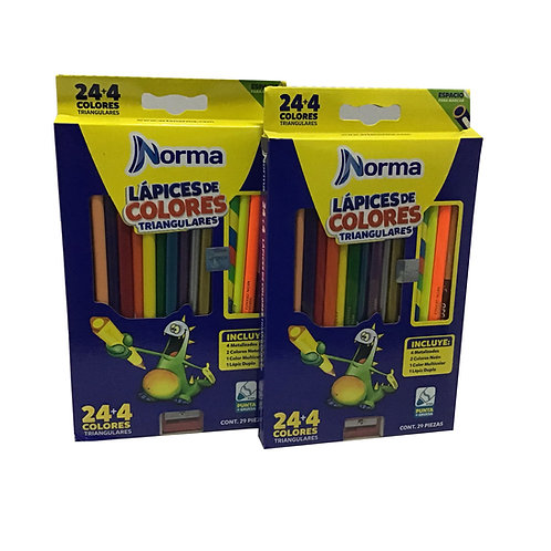 Caja de Colores Marca Norma con 24 piezas (1 caja)