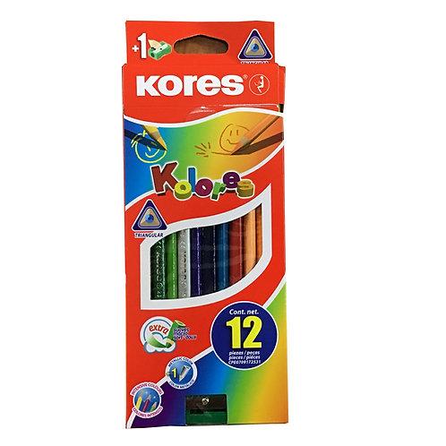 Caja de Colores Marca Kores con 12 piezas