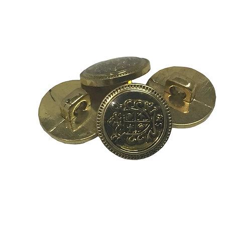 Botón Metálico Dorado Chico con Escudo (1 pieza)