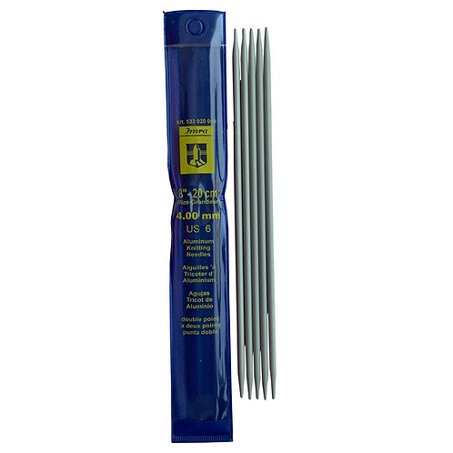 Agujas Tricot de Aluminio de Doble Punta de 20cm de 4mm