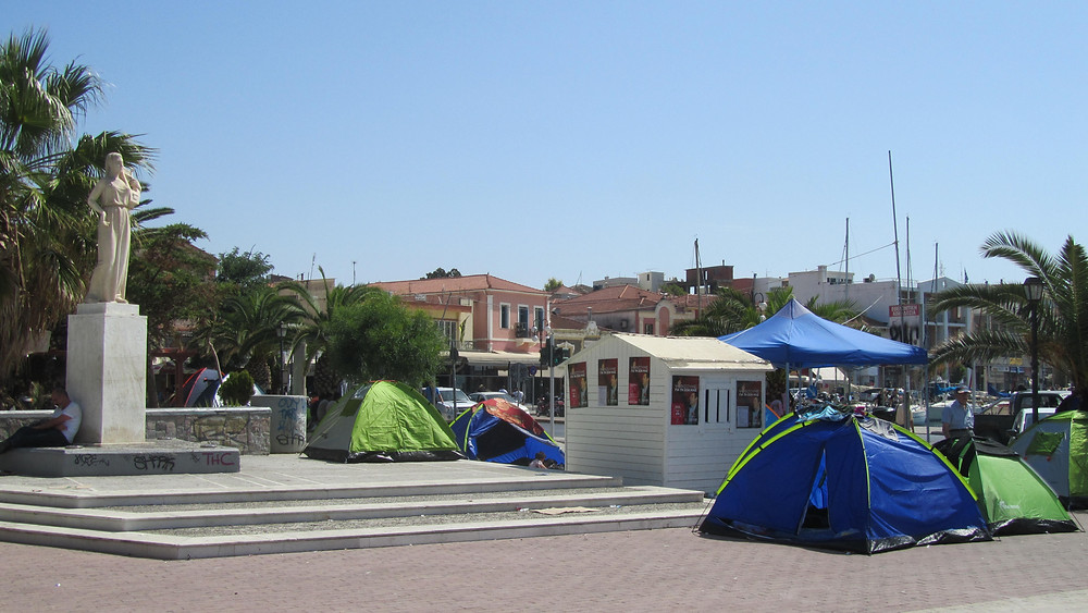 Sappho Square clearing out the tents