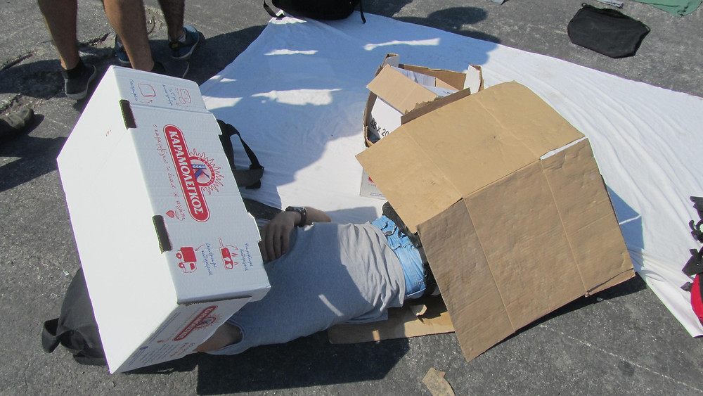 A makeshift shelter out of cardboard