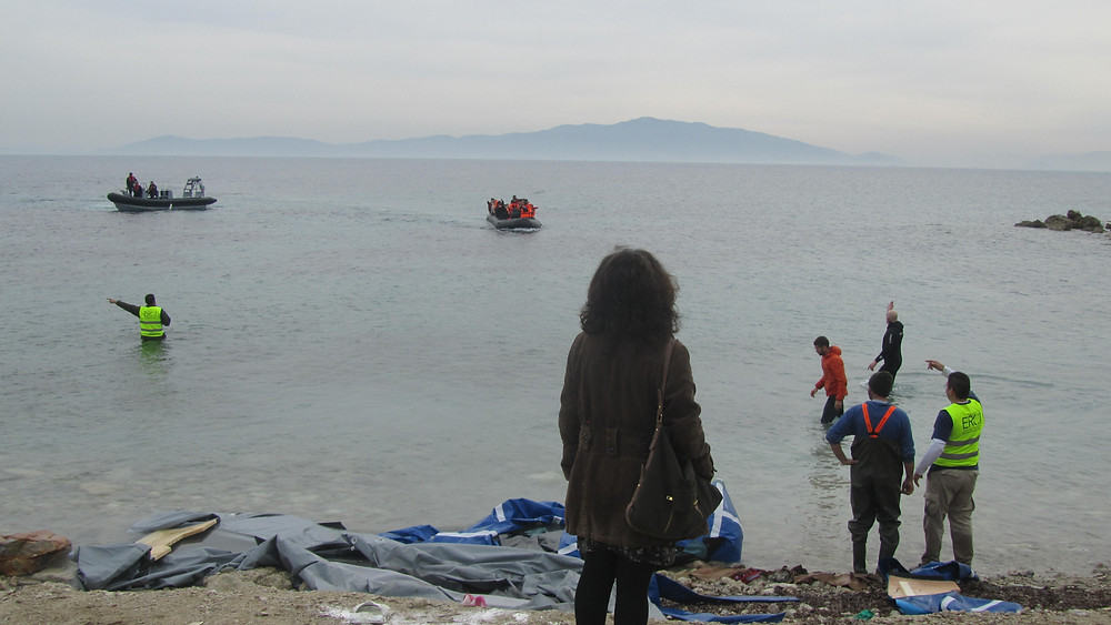 """Boat arrival Kratigos """"Voluntourism"""" tour with EY  photo:  Andrea Sarris"""