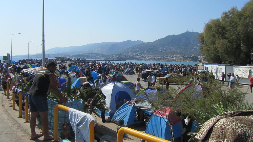 Refugees in Mytilini Harbor