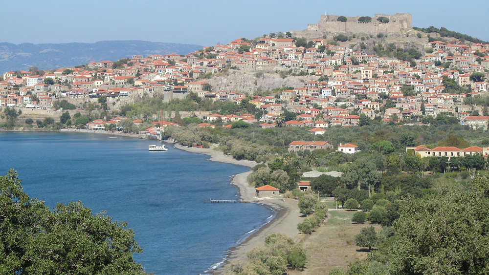 The Castle on top of Molyvos boat photo: Andrea Sarris