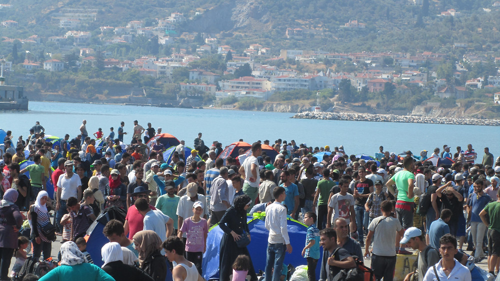 Refugees Mytilini Harbor