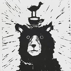 Frazzled Bear - Lino print