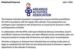 Arkansas Activities Association Preparing to Resume Athletics this Fall.