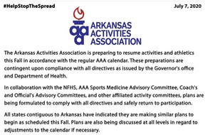 Arkansas Activities Association Preparing to Resume Athletics this Fall.