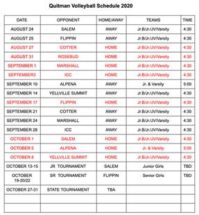 Quitman Volleyball Schedule 2020