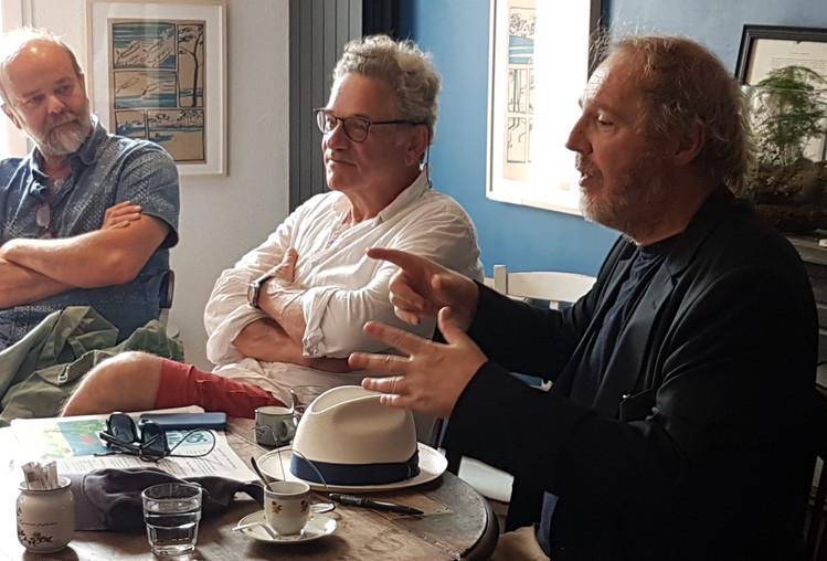 Arnaud Desplechin et Sylvain Bursztejn lors d'une rencontre avec le public