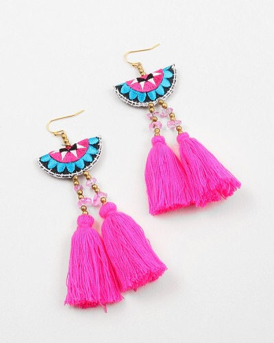 Fuschia Tassel Earrings