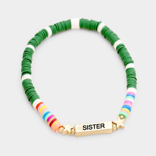 """SISTER"" Stackable Beaded Bracelet"