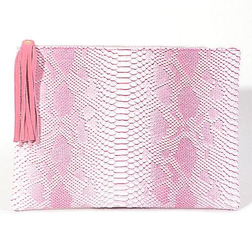 Large Pink Snakeskin Clutch