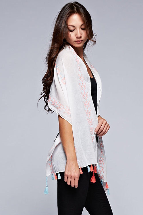 Lightweight Summer Tassel Scarf Wrap - Wear 3 Ways