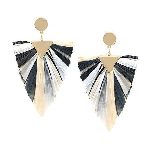 Black & White Raffia Earrings