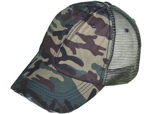 Camo Glam Distressed Trucker Hat