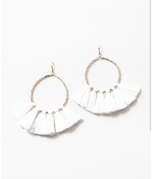 White Hoop Fringe Earrings