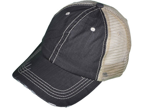 Distressed Glam Trucker Hat-Charcoal/Ivory