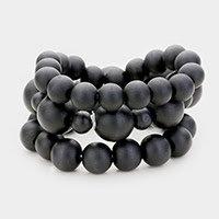 Charcoal Matte Beaded Bracelet Set