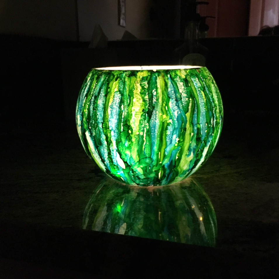 Alcohol Ink Candle Holder