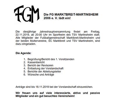 Jahreshauptversammlung FGM