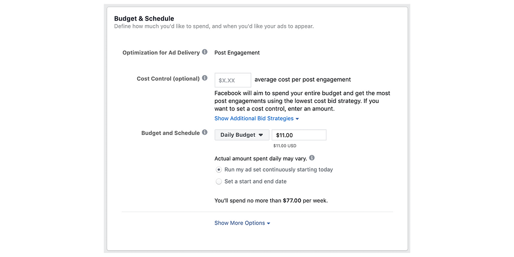 Budget and schedule for Instagram posts