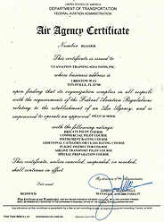 141 FAA Approved Course Certificate