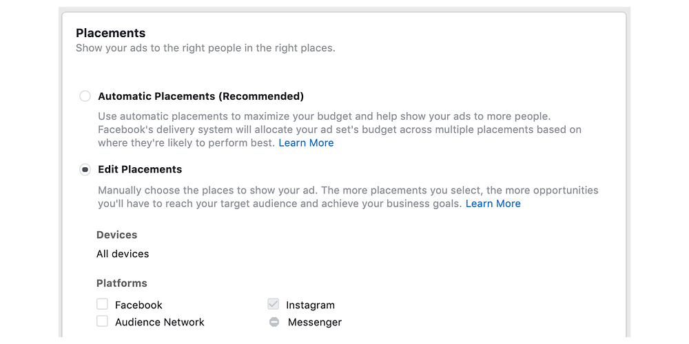 Choosing your ad placement for Instagram