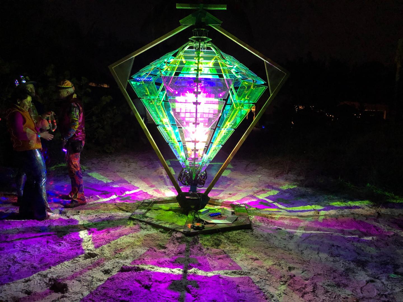 Double Diamond illuminated on the beach