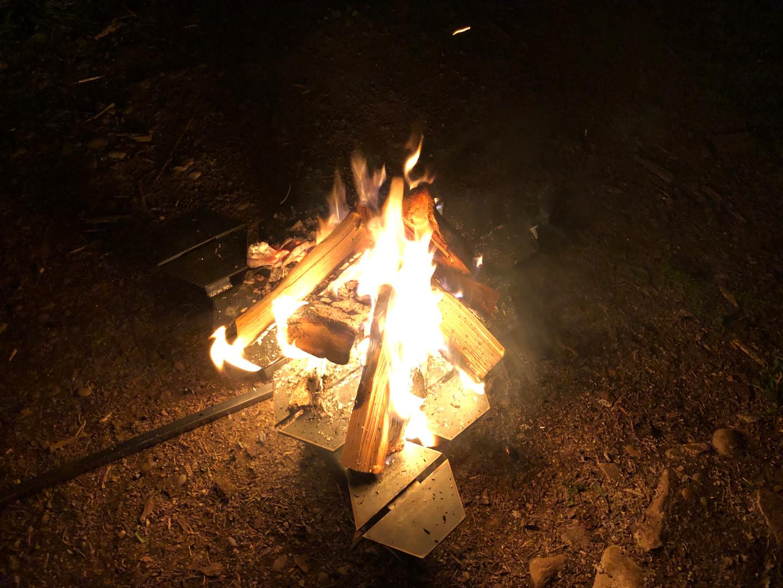 Burning wood on the Hexapit