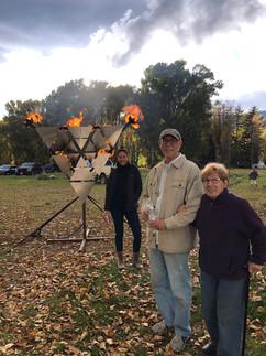 Matt's Mum, Dad, and Sister in front of Fryangle