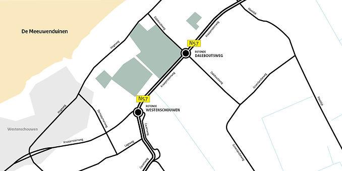 N57 bij Westenschouwen: kruising Kraaijensteinweg – Cauersweg afgesloten