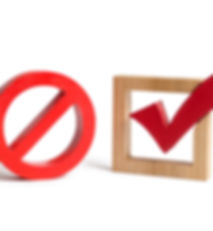 A red check mark and a NO symbol on an i