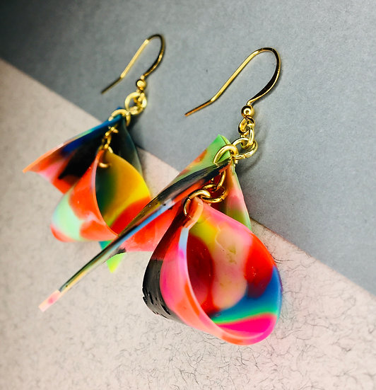 Furl Earrings - Pink/Orange/Black