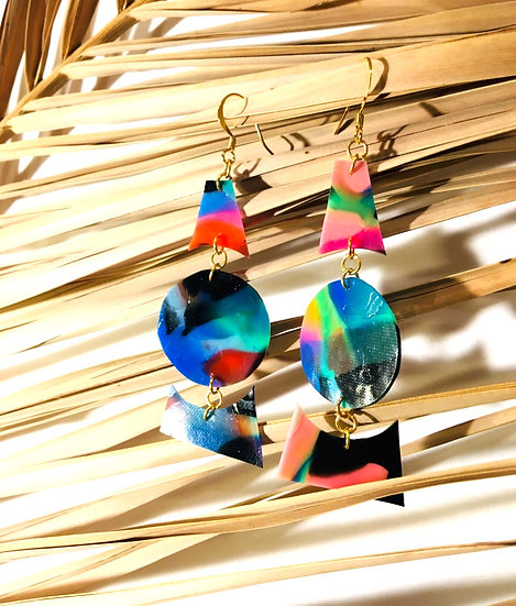 divided triangle & sphere earrings